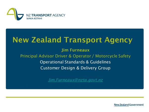 2018 NZ Transport Agency Presentation Cover